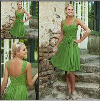 Cheap Custom Made 2015 Free Shipping 100% off Simple Short Bridesmaid Dresses Sweetheart Lime Green Chiffon Prom Dress Graduation cocktail dresses