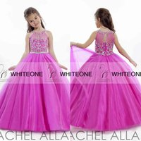 Wholesale 2015 Rechal Allan Crystal Girls Dresses Cute Ball Gown Todeelr Pageant Dresses Floor Length Tulle Sheer Back Pageant Dresses For Teens