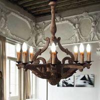 antique wood knobs - Vintage European Pendant Light American Country Antique Wrought Iron Wood Cafe Bar Lamp Restaurant Decoration Pendant Light Lights