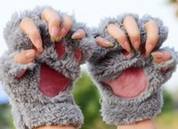 Wholesale Woman Winter Fluffy Bear Cat Plush Paw Claw Glove Novelty soft toweling lady s half covered gloves mittens christmas gift