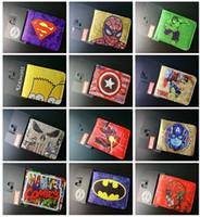 Wholesale Marvel wallet superhero wallets styles superhero card Holder wallet Cartoon students wallets Superman Batman Wallets Xmas gift D194