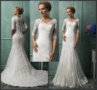 Wholesale Newest Luxury Lace Mermaid Wedding Dresses with Lace Appliques Chapel Train Bridal Gowns NO