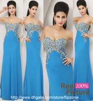 Cheap 100% Real Image 2015 New Mermaid Prom Dresses with Strapless Sweetheart Crystal Chiffon Long Wedding Evening Dress Formal Ball Gowns AJ002