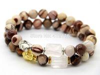 Asian & East Indian australian gold wholesale - 2015 New Design Summer Bracelets Australian zebra stone Pink Crystal Stone Beads Silver and Gold Buddha Yoga Bracelet