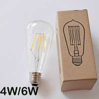 antique angle lamp - Led Filament Bulb Dimmable W W ST64 Squirrel Cage Antique Edison Decorative Lighting E27 B22 E26 Angle V V Nipple Type Lamps
