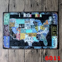 american flag art - License Plates Map Vintage Tin Sign Bar Pub Home Wall Decor European Crafts World Map American Flag Retro Stamps Metal Art Poster