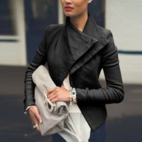 Wholesale New Fashion Women Short Leather Jacket Big Lapel Patchwork Coat Winter Ladies Slim PU Jackets Outerwear