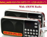 mini radio - L portable hifi mini FM radio speaker MP3 player amplifier micro SD TF USB flash drive AUX LED flashlight