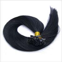 Cheap Best Flat-Tip Hair Extension Brazilian Virgin flat tip Hair 1# jet black 1g s 100g pack 7A Human Hair Extension No Shedding dhl free shpping