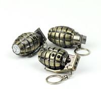 bullet keychain - Stylish Creative Mini LED Light Flashlight Torch Gadget Laser Pointer Pen Metal Bullet Artificial Grenade Pistol Gun Keychain Key Chain Q2