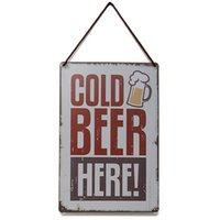 Cheap 30 X 20cm Tin Sheet Metal Sign Cold Beer Decor Pub Bar Wall Metal Home Tavern Garage Home Wall Decor Retro Metal Art Poster