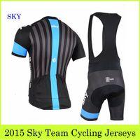 Anti Pilling bicycle wear - 2015 Tour De Team Sky Cycling Jerseys Set Bike Clothing Short Sleeve Bib Padded Pants Road Racing Bicycle Wear Black Bike Riding Suit