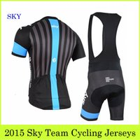 bicycle wear - Sky Team Cycling Jerseys Set Pro Bike Clothing With Bib Shorts Strip Jerseys Padded Pants Summer Outdoor Bicycle Wear Compressed