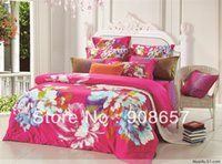 asian comforter sets - 400TC deep pink flower print Asian style cotton bed linen discount bedding set cheap quilt duvet covers for full queen comforter