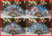 Terylene plastic hand fan - 50pcs Spainish Style Hand Fan Plastic frame Fan Printed landscape culture patterns Lace Fan