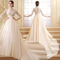 Wholesale ZCL02 Cheap Illusion Bodice Lace Long Sleeve Wedding Dresses Fall Champagne White Satin A Line Country Rustic Chic Bridal Gown