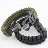 Wholesale Hot Sale in Flint Fire Starter Whistle Outdoor Camping Survival Gear Buckle Travel Kit Equipment Paracord Rescue Rope Escape Bracelet