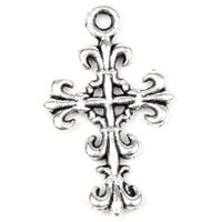 antique items - MIC X14mm Antique Silver Open Flower Cross Charm Charms Jewelry DIY New Items Hot