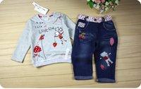 Wholesale New Winter baby girls clothing set Children kids cartoon sweater jeans set toddler girls Autumn clothes Retail