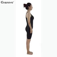 Wholesale Ensnovo Womens Nylon Piece Spandex Wrestling Sleeveless Knee Length Tank Starps Ballet Dancewear Bodysuit Gymnastics Unitard