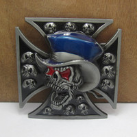 belts with skulls - BuckleHome fashion skull belt buckle cross belt buckle with pewter finish FP