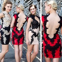 Cheap WOW ! Sexy Multi-color Lace 2015 Cocktail Dress Open Neck Cap Sleeve See Through Back Sheath Short Mini Party Prom Dress Custom Made 2014