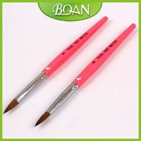 acrylic nail brushes wholesale - New Pink Acrylic Nail Brush Pure Kolinsky Hair Nail Brush D Nail Brush