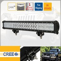 Wholesale 144W CREE Led Work Light Bar Spot Flood Combo Beam Truck Vechicle x4 Military SUV ATV Offroad Bumper Driving Head Lamp Auxiliary Fog Lamp