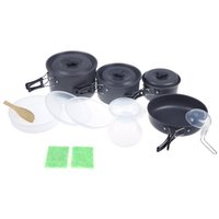 Wholesale Outdoor Portable Anodised Aluminum Cooking Set Camping Pan Pot Kit Cookware Utensils for People Non stick Picnic Hiking