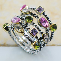 amethyst band rings - Peridot Pink Sapphire Amethyst Morganite Sterling Silver Top Quality Fancy Jewelry wedding Ring Size F1132