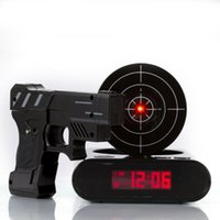Wholesale Black pistol shooting with infrared alarm clock Fast Shipping order lt no track