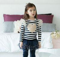 Wholesale girl s stripe set of t shirt mesh skirt with pants