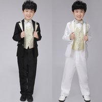 Wholesale Gold Sliver Bling Style Tuxedo Bowtie Jacket Formal Wear Kids Stage Clothing Party Show Performance Cosumes wyb003
