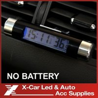 Wholesale No battery Fashionable Car LCD Digital blue backlight Automotive Thermometer Clock Calendar with Clip freeshipping