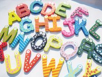 Wholesale 26 Baby Puzzle Toys Children s Toys Wooden Alphabet Fridge Magnets One Set have