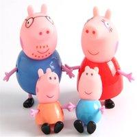 venda por atacado peppa pig toys-4 pcs / set-de-rosa dos desenhos animados peppa família do porco de brinquedo Playsets OPP saco 4 Loaded Pink Pig boneca ornamentos móveis Limbs Toy Kids