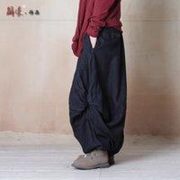 Wholesale Women Pants Harem Pants Women s Twisting Wide Leg Pants Bloomers Original Design Elastic Waist Linen Pants Women Trousers
