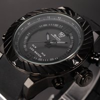 logo design - Shark D Logo LCD Dual Movement Bezel Design Sport Racing Waterproof Black Wrap Silicone Strap Analog Fashion Mens Casual Wristwatch SH165
