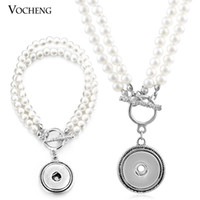 mothers day gift - VOCHENG NOOSA Snap Pearl Jewelry Set mm Button Pendant Necklace and Bracelet NN