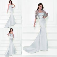 Wholesale Shawl White Satin Flowers - Silver Evening Dresses 2016 Tarik Ediz Mother of the Bride Dresses with Shawl Strapless Mermaid Beaded Vintage Wedding Prom Dresses