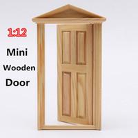 Wholesale Excellent Workmanship Dollhouse DIY Mini Miniature Panel Wooden Exterior Door Steeple Top Design