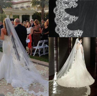 Cheap New White   Ivory Lace Wedding Veil Bridal Veil Cathedral Long Arabic Wedding Veils For Cathedral Wedding Dress