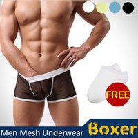 Cheap Brand Sexy Mens Male Man See-through Mesh Underwear Short Boxer Briefs Lingerie Transparent Boys Boxers Briefs Trunks Bottoms Shorts