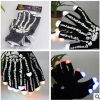 Wholesale New LED Gloves Lighting Flashing Skull Rave Glove Light Finger Christmas Party Gift cheer for bar concert