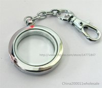 Wholesale Plain Round Living Floating Memory Glass Locket Key Chain no charms