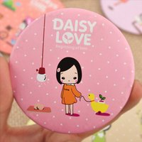 beaty girl - pieces Small Fresh Make Up Miirro Cooky Litte Girl Pattern Portable Beaty Round Mirro Vanity Miroir De Poche