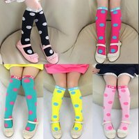 Wholesale 5 Kids Classic Knee High Popular Baby Cotton Socks Solid Color Dot Beautiful Girls Socks