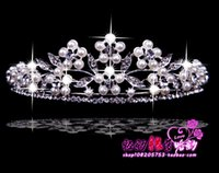 crowns and tiaras - 205 Silver Crown Hair Tiaras Earrings And Pearl Necklace Bridal Jewelry No Risk Shopping High Quality Bridal Accessories
