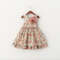 best countries - 2016 Kids Boat Neck Sleeveless Fashion Princess Ball Gown Dress Best Sale Country Style Childrens Sweet Flower Elegant Sundress Girls Dress