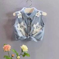 baby girl tees - 2015 Summer Children Clothing Kids Sleeveless Pearl Tassel Star Shirts Baby Girl Denim Shirt Fashion Tops Kids Clothes Cowboy Tee K4142